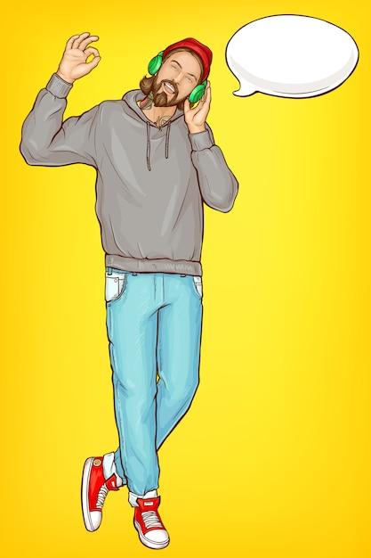 Homem hipster em retrato de desenho animado de fones de ouvido Vetor grátis