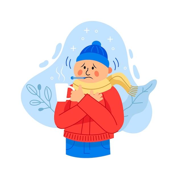 Homem ilustrado com um resfriado Vetor grátis