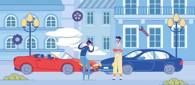 Homem irritado discutir na rua perto de automóvel esmagado Vetor Premium