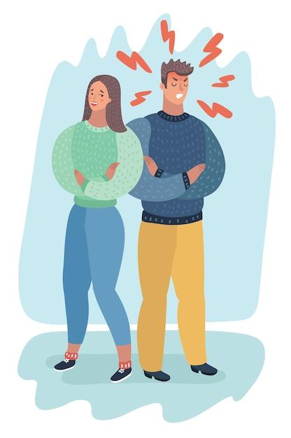 Homem irritado irritado e mulher bondosa virando as costas um para o outro, conceito de negócio em conflito, com raiva, discutindo, esgotamento ou divórcio. Vetor Premium