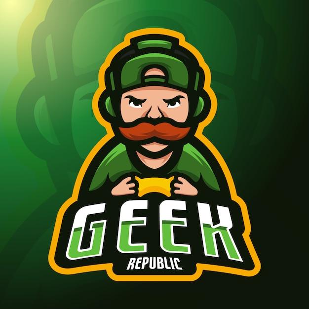 Homem jogando mascote jogo de console. Vetor Premium