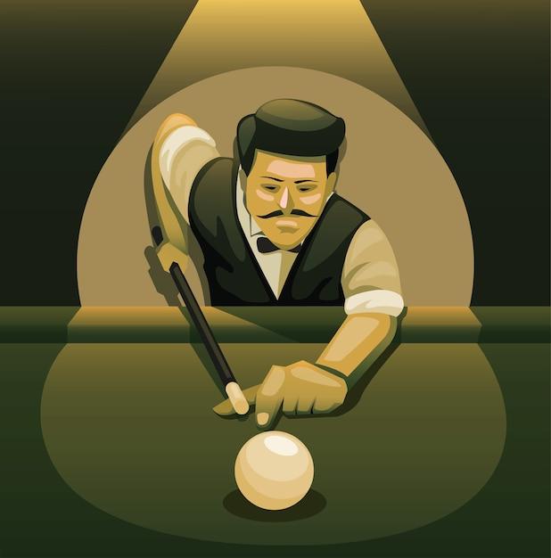Homem jogando sinuca. jogador profissional de bilhar pose conceito de bola de tiro na ilustração cartoon noir Vetor Premium