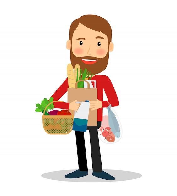 Homem jovem, com, alimento, saco Vetor Premium