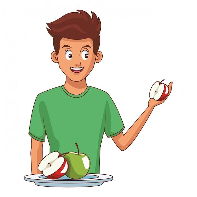 Homem jovem, e, alimento saudável Vetor Premium