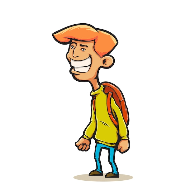 Homem jovem, em, caricatura, estilo Vetor Premium