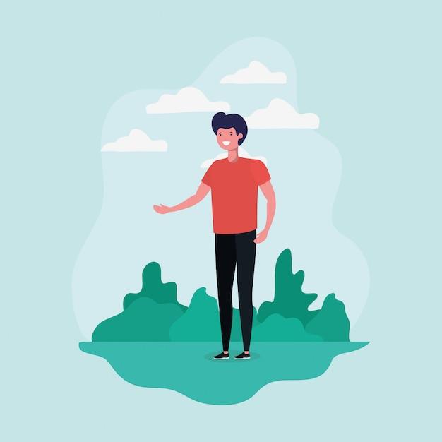Homem jovem, ficar, parque, personagem Vetor grátis