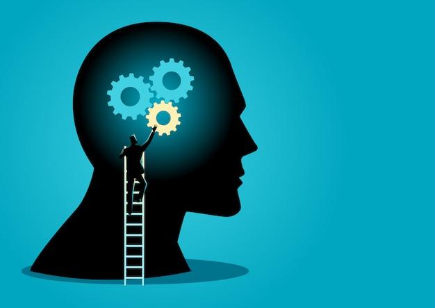Homem, ligado, escada, instalar, engrenagens, ligado, cabeça humana Vetor Premium