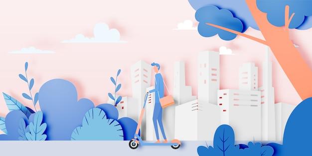 Homem, ligado, scooter elétrico Vetor Premium