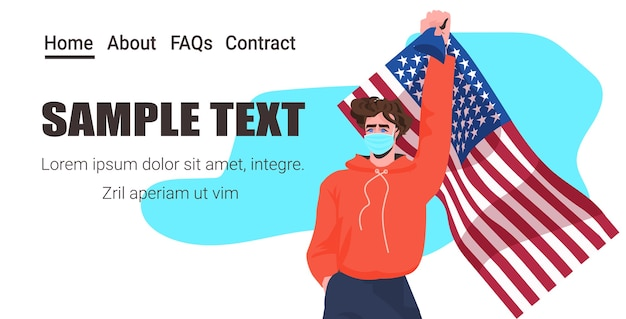 Homem mascarado segurando a bandeira do dia do trabalho dos eua Vetor Premium