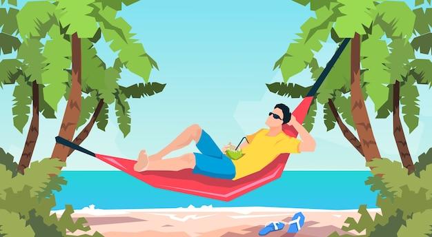 Homem, mentindo, em, rede, praia, férias, apartamento, vetorial, ilustração Vetor Premium
