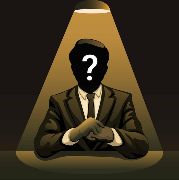 Homem misterioso sob os holofotes homem de negócios sem identidade na ilustração do conceito noir Vetor Premium