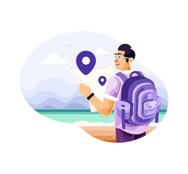 Homem mochileiro viajante sozinho com mapas Vetor Premium