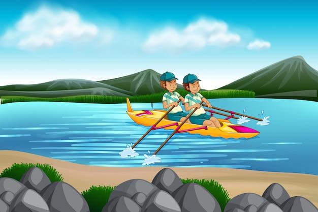 Homem, montando, canoa, em, a, lago Vetor grátis