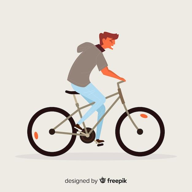 Homem, montando, um, bicicleta, fundo Vetor grátis