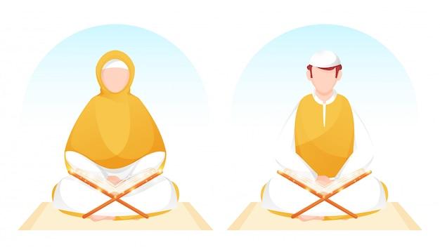 Homem muçulmano e mulher lendo livro mágico alcorão na esteira amarela. Vetor Premium