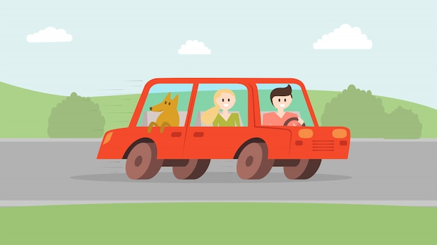 Homem, mulher, com, cão, indo, por, car Vetor Premium