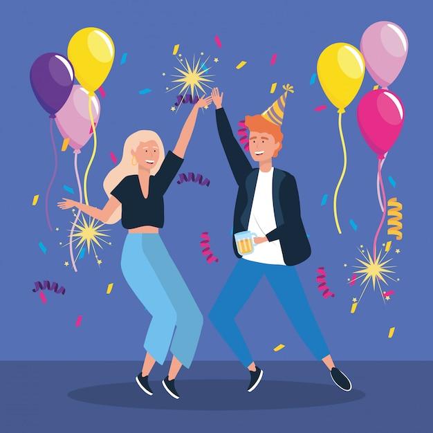 Homem mulher, dançar, com, balões, e, sparklers, fogos artifício Vetor grátis