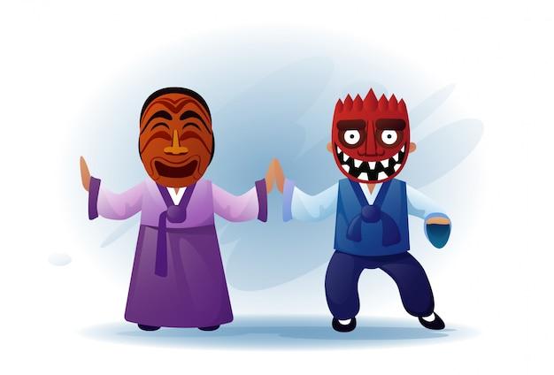 Homem mulher, desgastar, tradicional, asiático, roupas quimono, e, máscara tribal, dançar, ásia, tradição, desempenho Vetor Premium