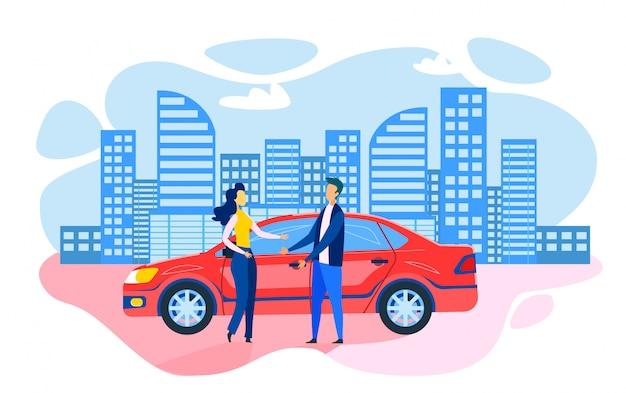 Homem mulher, ficar, perto, estacionado, car, apartamento, caricatura Vetor Premium