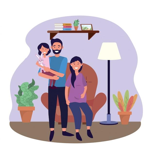 Homem mulher, grávida, em, a, cadeira, com, filha Vetor grátis