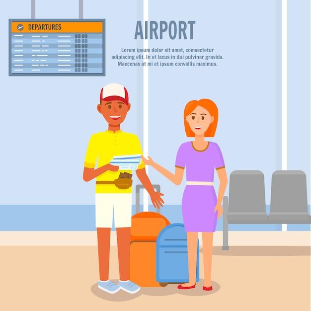 Homem mulher, ir, para, viagem verão, por, avião Vetor Premium