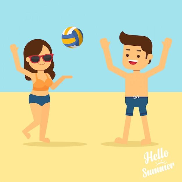Homem mulher, ir viajar, em, verão, feriado, homem mulher, em, swimwear, jogar volleyball, ligado, praia Vetor Premium