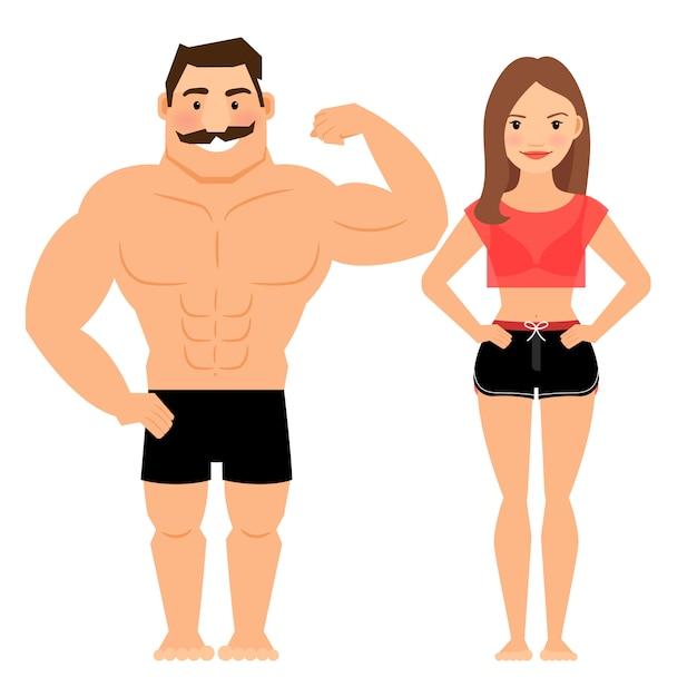 Homem mulher, par muscular Vetor Premium