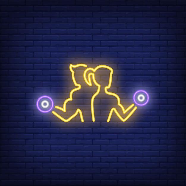 Homem mulher, treinamento, com, dumbbells, sinal néon Vetor grátis