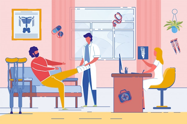 Homem na consulta com traumatologista ou cirurgião. Vetor Premium