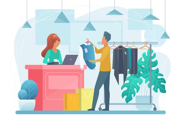 Homem na ilustração de loja de roupas. personagens de desenhos animados do comprador e do vendedor. Vetor Premium