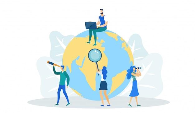 Homem na terra com laptop, trabalho internacional. Vetor Premium