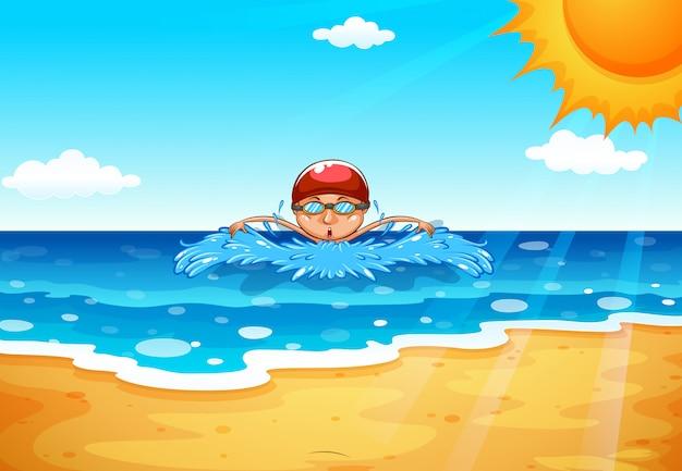 Homem, natação, em, a, oceânicos Vetor grátis