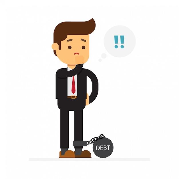 Homem negócio, com, dívida Vetor Premium