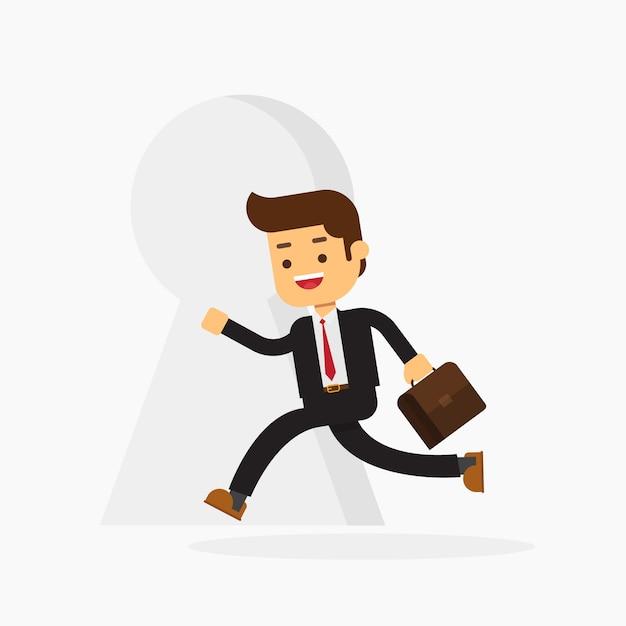 Homem negócio, com, um, pastas, ir, para, um, grande buraco-buraco Vetor Premium