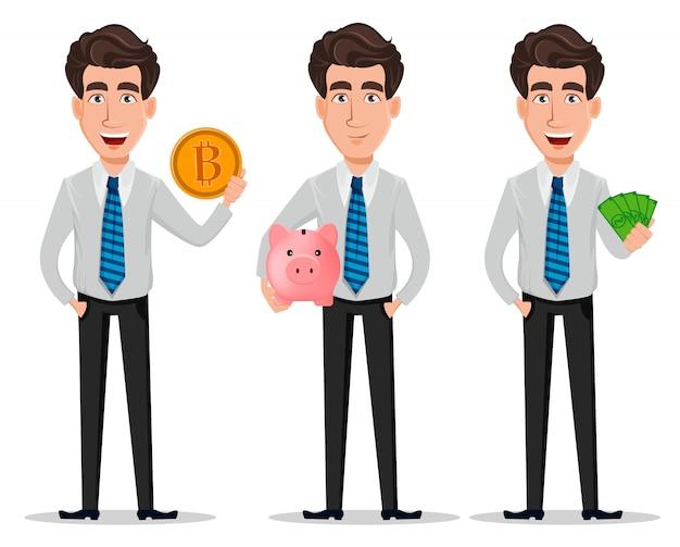 Homem negócio, em, escritório, estilo, roupas Vetor Premium