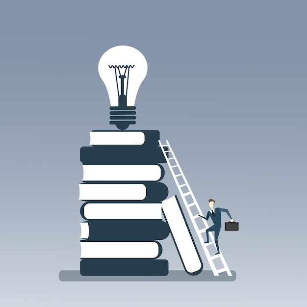 Homem negócio, escalando, pilha livros, para, bulbo leve, cima Vetor Premium