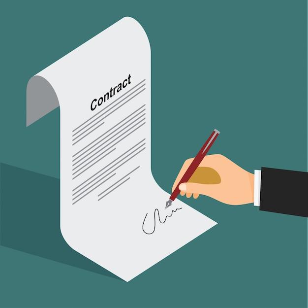 Homem negócios, assinando, um, documento, com, caneta, e, contrato Vetor Premium