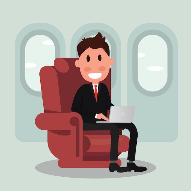 Homem negócios, avião Vetor Premium