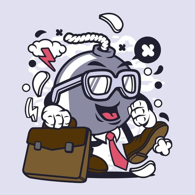 Homem negócios, bomba, caricatura Vetor Premium