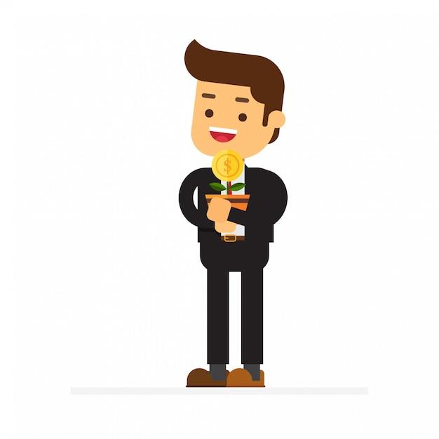 Homem negócios, com, dinheiro, árvore, em, seu, mãos Vetor Premium