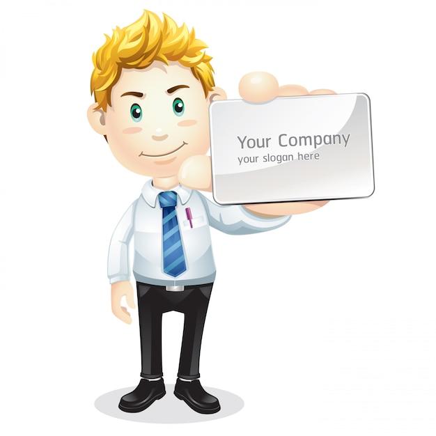 Homem negócios, com, em branco, cartão negócio Vetor Premium