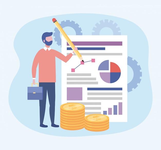 Homem negócios, com, lápis, e, diagrama, documento, informação Vetor grátis