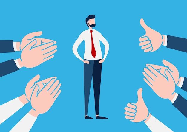 Homem negócios, com, muitos, mãos aplaudindo Vetor Premium
