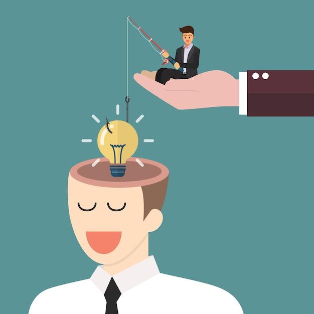 Homem negócios, com, vara de pescar, roubando, idéia lightbulb, de, um, cabeça Vetor Premium
