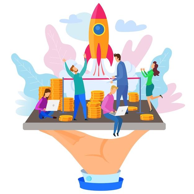Homem negócios, corte, fita, foguete, lançamento, ilustração Vetor Premium