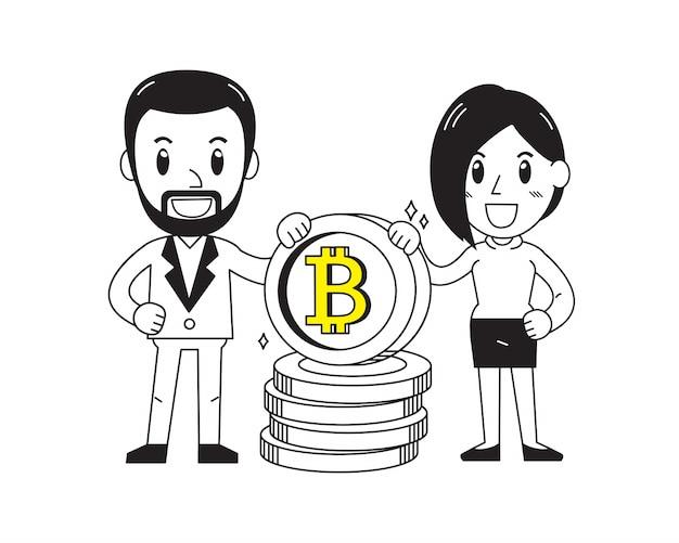 Homem negócios, e, executiva, com, grande, moeda, pilha Vetor Premium