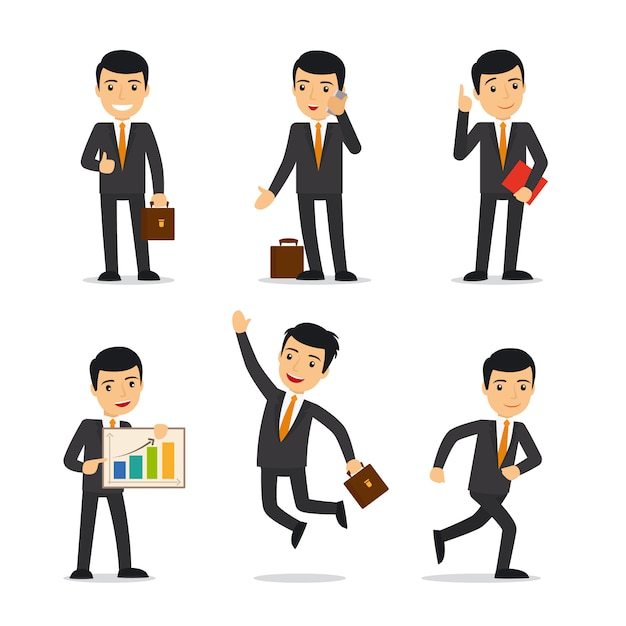 Homem negócios, em, diferente, poses Vetor Premium