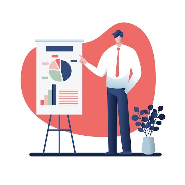 Homem negócios, em, um, apresentação negócio, conceito, caricatura, ilustração Vetor Premium