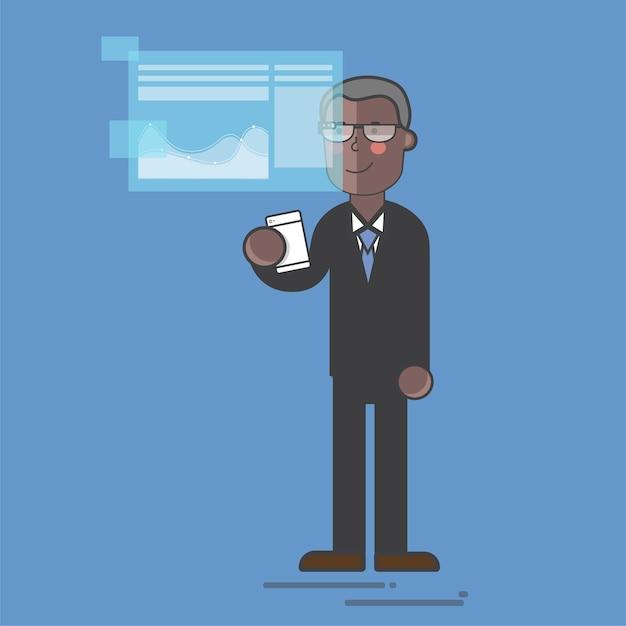 Homem negócios, em, um, digital, apresentação Vetor grátis