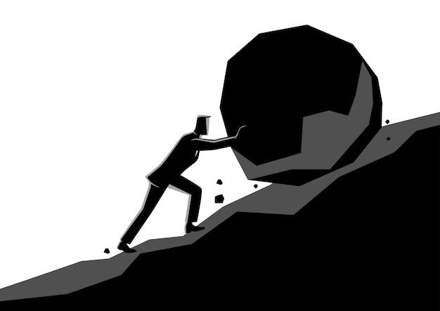 Homem negócios, empurrar, grande, pedra, subida Vetor Premium